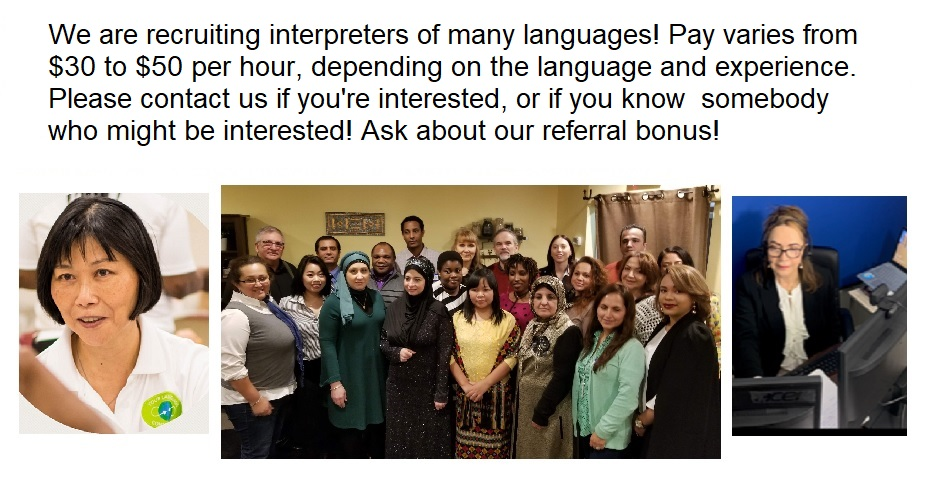 We are recruiting interpreters for multiple languages!