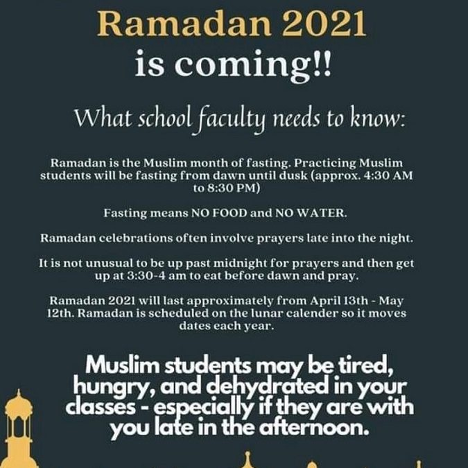 Did you know Ramadan 2021 starts April 13th?